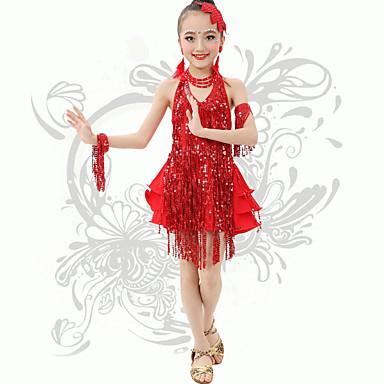 Skal vi latin dance danser prestasjoner spandex sequins / dusk (r) v nakke halter kjoler