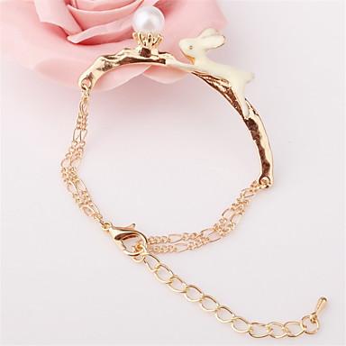 Armbänder Bettelarmbänder Aleación / Künstliche Perle Liebe Modisch Party / Alltag / Normal Schmuck Geschenk Goldfarben / Weiß,1 Stück