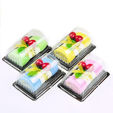 1pcs rolo suíço em forma de bolo de pano de limpeza falso sobremesa favores decoração de casamento (cor aleatória)