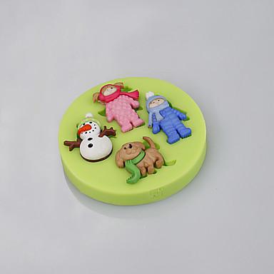 Molde Desenhos Animados 3D Chocolate Torta Biscoito Bolo Silicone Faça Você Mesmo Natal Alta qualidade