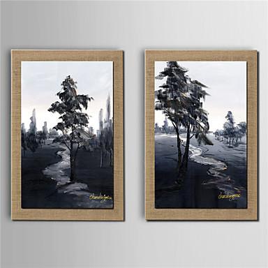 Pintados à mão Paisagens Abstratas Vertical, Modern Tela de pintura Pintura a Óleo Decoração para casa 2 Painéis