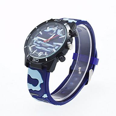 Herren Armbanduhr Quartz Silikon Band Schwarz Weiß Rot Grün Blau Jägergrün
