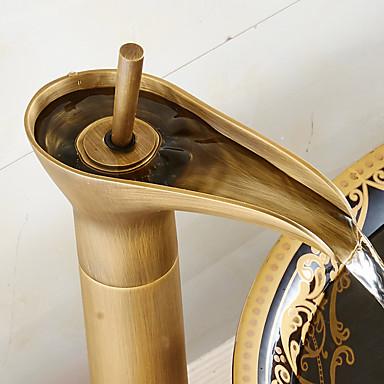עתיק סט מרכזי מפל with  שסתום קרמי חור ידית אחת אחת for  Antique Bronze , חדר רחצה כיור ברז
