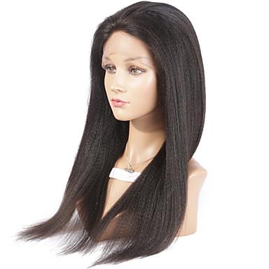 נשים פיאות תחרה משיער אנושי שיער אנושי חזית תחרה 130% צְפִיפוּת ישר יקי פאה צבע טבעי בינוני ארוך שיער טבעי 100% קשירה ידנית פאה