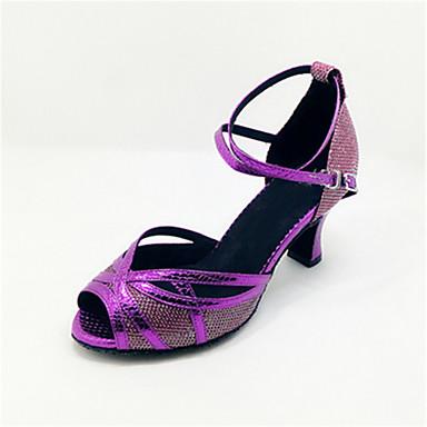 Mulheres Sapatos de Dança Latina Courino Sandália Presilha / Vazados Salto Carretel Personalizável Sapatos de Dança Púrpura / Espetáculo