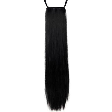 povoljno Perike i ekstenzije-Konjski repići Kose za kosu Ravan kroj Klasika Sintentička kosa 24 inča Dug Ugradnja umetaka Dnevno