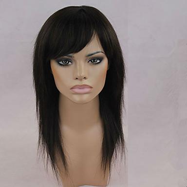 שיער ללא שיער שחור חום כהה ישר