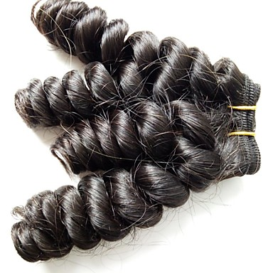 Malaysisk hår Menneskehår Vevet Løse bølger Hårforlengelse 4 deler Naturlig Farge
