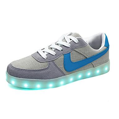 HerrenOutddor Lässig Sportlich-Kunststoff Stoff-Flacher Absatz-Komfort Light Up Schuhe-Grau