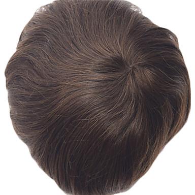 Homme Cheveux humains Postiches Droit Classique 100 % Tissée Main Haute qualité Quotidien