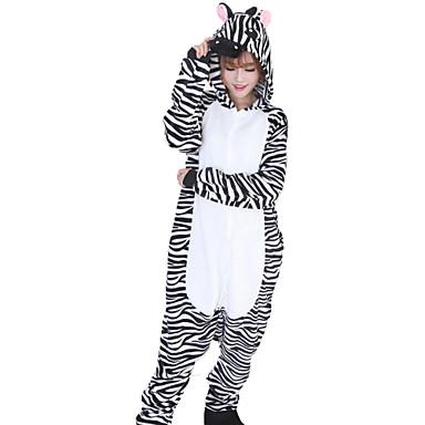 Yetişkin Kigurumi Pijama Zebra Onesie Pijama Fanila Tüylü Kumaş Siyah / Beyaz Cosplay İçin Erkek ve Kadın Hayvan Sleepwear Karikatür Festival / Tatil Kostümler
