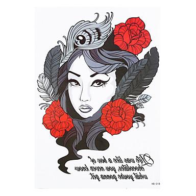 8pcs crâne sexy belle manche du bras fille fleur des femmes de tatouage imperméables hommes art corporel tatouage temporaire conception