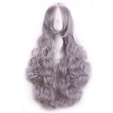 Kobieta Peruki syntetyczne Kręcone Grey Peruka kostiumowa