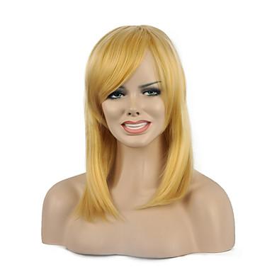 høy kvalitet rett blonde fargen kvinnens parti syntetiske parykker