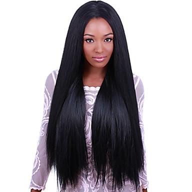 Emberi haj Csipke eleje Paróka Egyenes 130% Sűrűség 100% kézi csomózású Afro-amerikai paróka Természetes hajszálvonal Rövid Közepes Hosszú