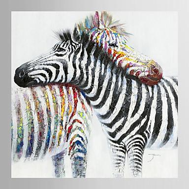 handgemaltes Ölgemälde Tier Zebra fiel in der Liebe mit gestreckten Rahmen