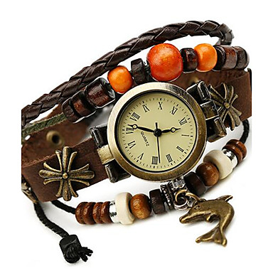 Mulheres Bracele Relógio Relógio Casual Couro Banda Boêmio / Fashion Marrom
