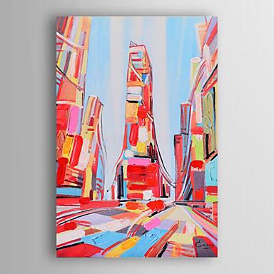 נוף ביד ציור שמן צייר את העיר הצבעונית עם מסגרת מתוחה