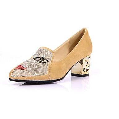 Sko-PU-Tykk hæl-Hæler / Spiss tå-høye hæler-Kontor og arbeid / Formell / Fritid-Svart / Blå / Rød / Mandel