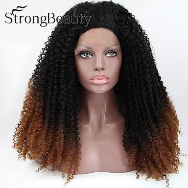 Syntetiske parykker Naturlige bølger Naturlig hårlinje Mørke røtter Ombre-hår Dame Blonde Forside Lang Syntetisk hår