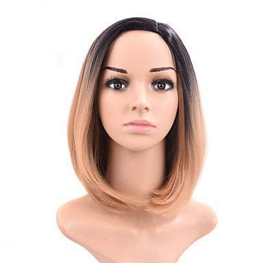 couleur perruque blonde naturelle courte ligne droite populaire synthétique pour femme
