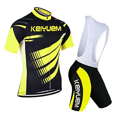 KEIYUEM Rövid ujjú Kerékpáros dzsörzé kantáros nadrággal - Sárga Bike Ruházati kollekciók, Gyors szárítás, Légáteresztő, Upijanje znoja,