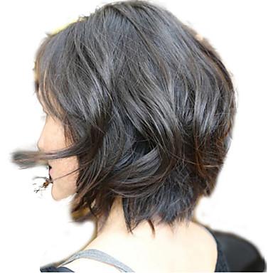 Ekte hår Blonde Forside Parykk Bølget 130% tetthet 100 % håndknyttet Afroamerikansk parykk Naturlig hårlinje Kort Medium Dame