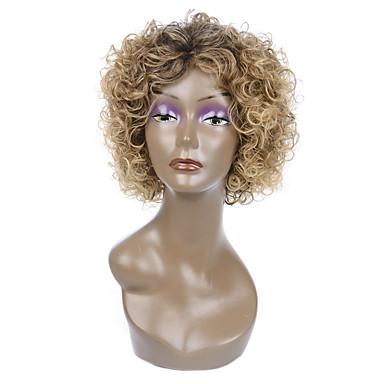 Synthetische Haare Perücken Locken Kappenlos Karnevalsperücke Halloween Perücke Blond