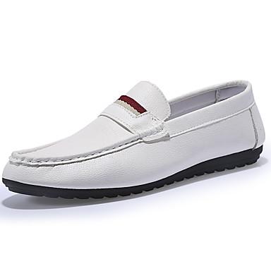 Miehet kengät Tekonahka Kevät Kesä Syksy Talvi Comfort Mokkasiinit Käyttötarkoitus Häät Kausaliteetti Juhlat Valkoinen Musta Keltainen