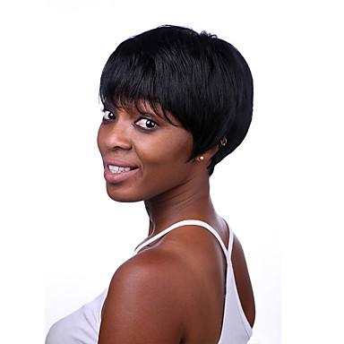 kurze Länge glattes Haar europäische Webart schwarze Farbe synthetische Perücke