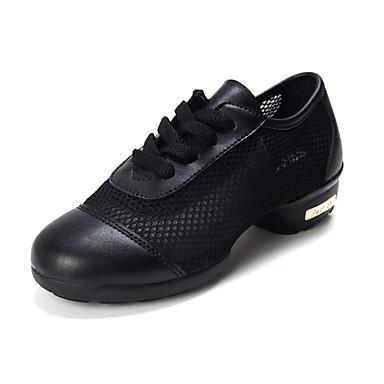 Chaussures de danse(Noir / Bleu / Rouge) -Non Personnalisables-Talon Plat-Cuir-Baskets de Danse