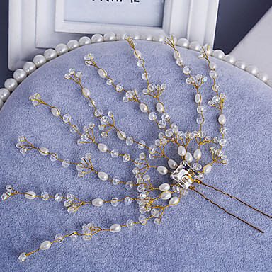 Női Gyöngy Strassz Ötvözet Sisak-Esküvő Különleges alkalom Hajtű 1 darab