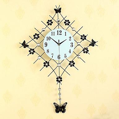 Nouveauté Moderne/Contemporain Horloge murale,Fleurs / Botaniques / Inspiré / Mariage / Famille / Amis Cristal / Verre / Métal83cm x 61cm