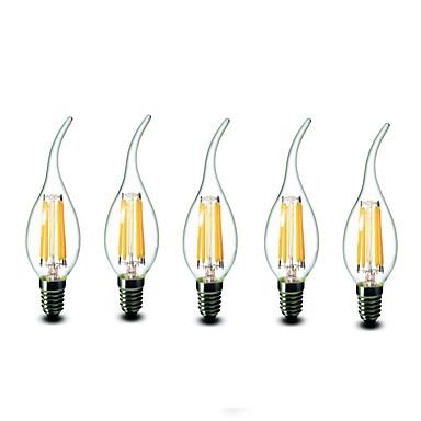 E14 Luzes de LED em Vela CA35 6 leds COB Regulável Branco Quente 600lm 2700K AC 220-240V
