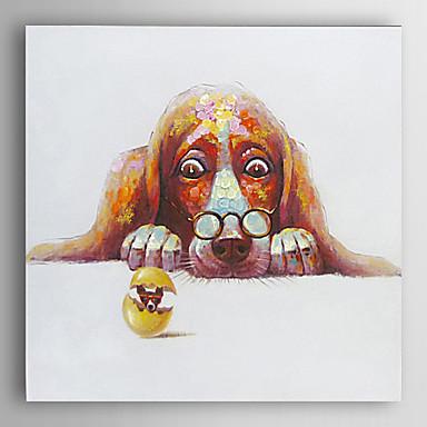handgemaltes Ölgemälde Tier Hund starrte auf das Ei mit gestreckten Rahmen