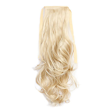 נתפס עם קליפס גלי מסולסל קוקו קשירה חתיכת שיער הַאֲרָכַת שֵׂעָר 20 inch בלונדינית