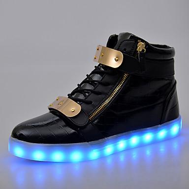 Homens sapatos Couro Envernizado Primavera / Outono Conforto / Tênis com LED Botas Curtas / Ankle Preto / Vermelho / Azul