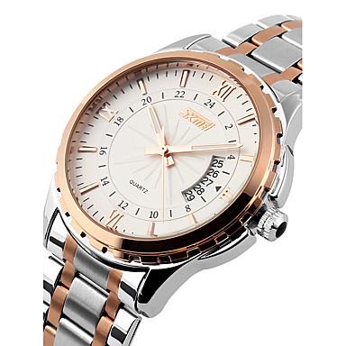 SKMEI Herrn Quartz Japanischer Quartz Armbanduhr Kalender Wasserdicht Edelstahl Band Charme Silber
