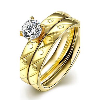 voordelige Herensieraden-Sieraden Set Ringen Set Kubieke Zirkonia Gouden Zirkonia Kubieke Zirkonia Titanium Staal Cirkelvorm Modieus Bruiloft Feest Sieraden stapelbaar / Verguld