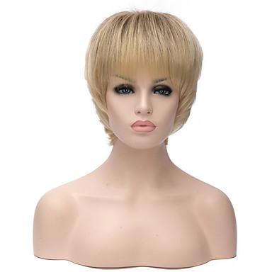 Synthetische Perücken Wellen Blond Damen Kappenlos Kurz Synthetische Haare