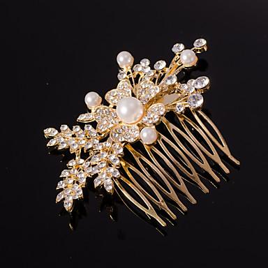 ezüst / arany levél alakú kristály gyöngy haj fésűk násznép hölgy