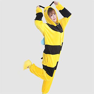 Kigurumi-Pyjamas Biene Pyjamas-Einteiler Kostüm Korallenfleece Gelb Cosplay Für Erwachsene Tiernachtwäsche Karikatur Halloween Fest /
