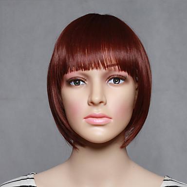 Damen Synthetische Perücken Kappenlos Kurz Glatt Fuxia Kostüm Perücken