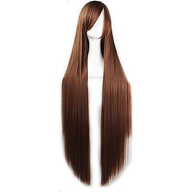 Synthetic Wig Straight Asymmetrical Haircut Synthetic Hair Natural Hairline Brown Wig Women's Long Capless