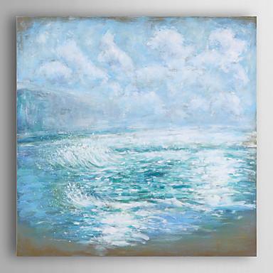 handgemaltes Ölgemälde Landschaft blau Ozeanwelle mit gestreckten Rahmen 7 Wand ARTS®