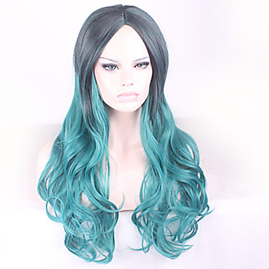 Syntetisk hår Parykker Bølget Lokkløs Lang Grønn