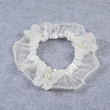 Spitze Stretch - Satin Modisch Hochzeitsstrumpfband  -  Imitationsperle Blume Strumpfbänder