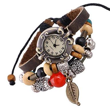 בגדי ריקוד נשים שעוני אופנה שעון צמיד דיגיטלי עור להקה בוהמי חום
