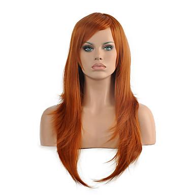 Synthetische Haare Perücken Gerade Kappenlos Karnevalsperücke Halloween Perücke Medium Rot