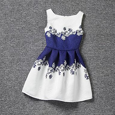 Menina de Vestido Verão Poliéster Sem Manga Floral Branco